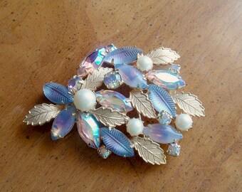 Vintage Kramer Art Glass Brooch Pearls Rhinestones and Glitz