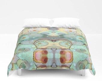 Abstract Mermaid Shabby Chic Duvet Cover Bedroom Set funky ocean home decor boho chic duvet blanket, duvet boho duvet