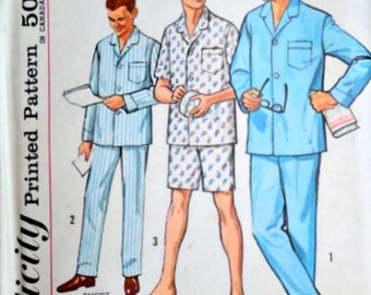 Vintage 60's Sewing Pattern, Simplicity 4007 Men's Pajama Top And Pants, Proportioned Sizes, Size Large, 42-44 Chest, Uncut FF, Retro 1960's
