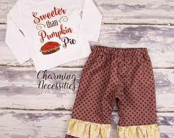 NEW Fall Thanksgiving Outfit, Baby Toddler Girl Clothes, Top Ruffle Pants Set, Sweeter Than Pumpkin Pie Charming Necessities Brown Gold
