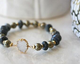 Druzy Bracelet, Labradorite Bracelet, Pyrite Bracelet, Stretch Bracelet, Stacked Bracelet, Drusy Bracelet, Blue Bracelet, Gold Bracelet