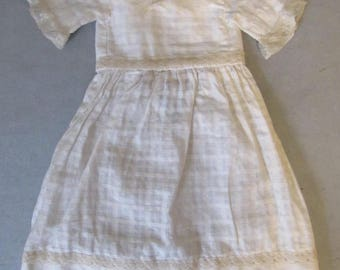Antique White Patterned Doll Dress