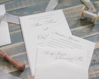 Dusty Rose Wedding Invitation | Formal Pink Wedding Invitation | Simple Wedding Invitation | Formal Invitation, Traditional Shatia & Chaz