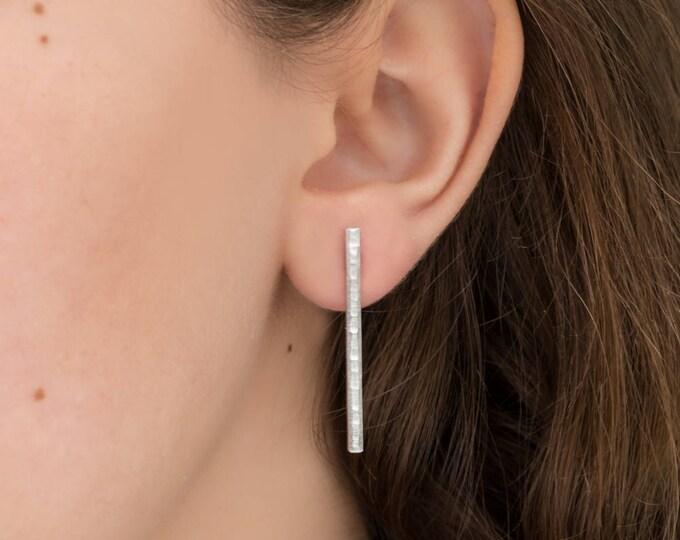 Silver Bar Post Earrings- Long, Shiny