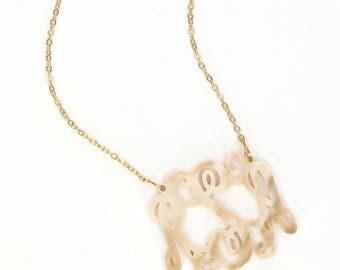 Heartstrings Large Interlocking Monogram Acrylic Necklace