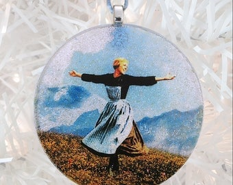 Sound of Music glass and glitter ornament