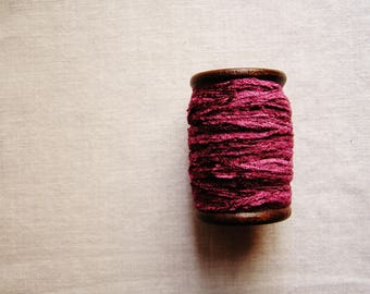 Sugar Plum rayon Chenille Ribbon on a Hand painted espresso wooden spool