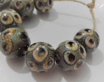 Lampwork Beads, Handmade Glass Beads, Brown Black Organic Round