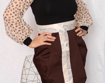 Chocolate Brown and Vintage Gold Skirt, High Waisted, Pleated, Women's Handmade Skirt, Cotton, Vintage Fabric, Made in Australia,