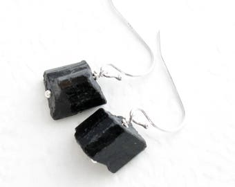 Rough Black Tourmaline Earrings, Raw Natural Crystal Jewelry, Ebony Earrings