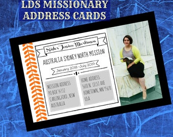 LDS Missionary ADDRESS CARD digital printable customized with photo name mission addresses orange