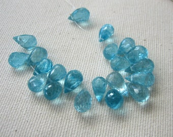 Aqua Blue Apatite Faceted Briolette Beads 7 x 4mm to 8 x 5mm - 21 Beads