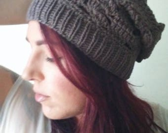 Lace Boho Slouchy Beanie, Knit Slouch Hat