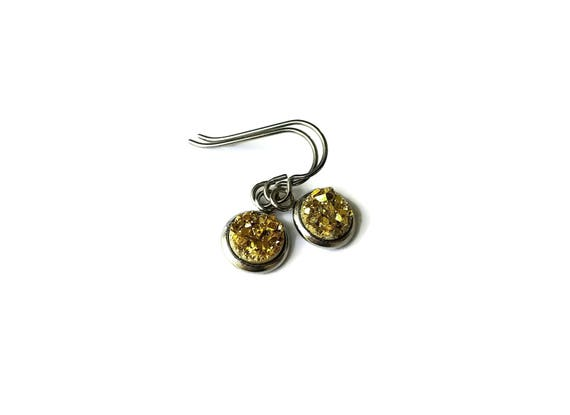 Gold druzy dangle earrings - Hypoallergenic pure titanium, stainless steel and acrylic druzy jewelry