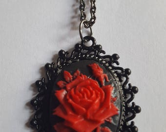 Red Rose Cameo Necklace in Black Setting