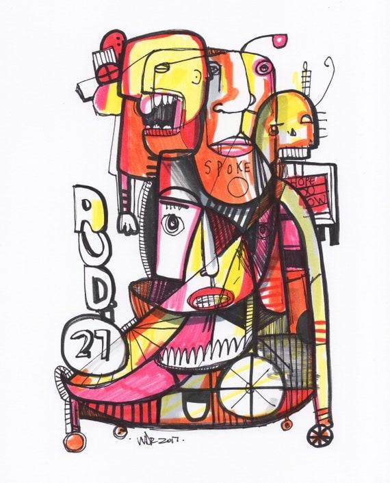 "Audio 27 - Original mixed media Illustration on Bristol - 8"" x 10"""