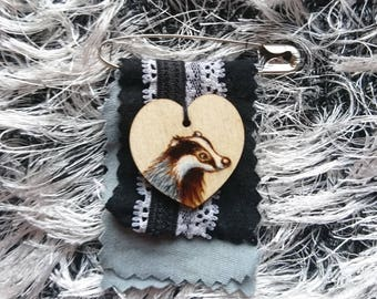 Badger Brooch - Woodburning and fabric shawl pin, medal or badge - Wooden Fifth Wedding Anniversary gift jewellery - Pyrography - Mori girl