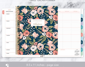 teacher planner 8.5x11 | 2017-2018 lesson plan | weekly teacher planner | personalized teacher planbook | navy pink gold floral