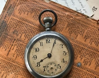Vintage POCKET WATCH- The Ansonia Clock Co. Steampunk Style- Winding Pocketwatch- Watch for Repurpose- B13