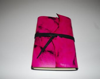 """Fuschia 9 x 6"""" leather journal with tie - great for dreams, travel stories and sketching"""