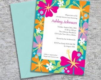 Luau Invitation for Bridal Shower or Birthday Party – DIY Printable Personalised – Tropical Flower Border (Digital File)