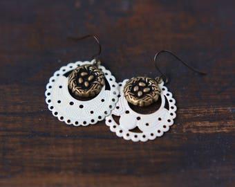 Bird Nest Earrings Ivory Filigree Hoops
