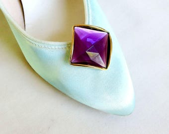 Cut & Faceted Purple Stone Shoe Clips Vintage