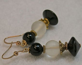 Vintage Black Onyx Abacus Bead Earrings, Vintage White Snow Quartz Beads, Gold Plated Bead Caps, Gold Plated Ear Wires - GIFT WRAPPED