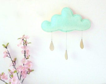 Mint Cloud mobile- mint Baby mobile, mint nursery decor, Nordic nursery, boy nursery, Baby boy gift, The Butter Flying, Cloud cushion- baby