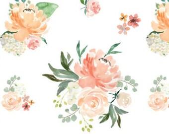 floral crib bedding- peach peony baby bedding- watercolor crib sheet- crib sheet, nursing pillow cover, changing pad- floral girl crib sheet
