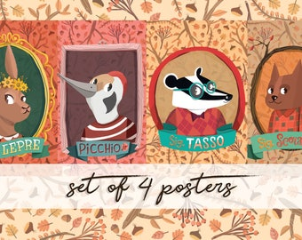 Set Dapper animal posters, cute animal of the woods illustration, children prints, set of four autumn posters