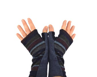 Men's Fingerless Mitts in Striped Navy Charcoal and Maroon Merino - Recycled Felted Wool