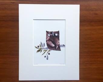 Maude The Owl, Original Cut-Paper Artwork