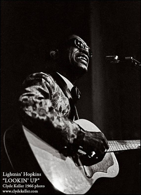 Lightnin' Hopkins, LOOKIN' UP, blues, Clyde Keller photo, 1966