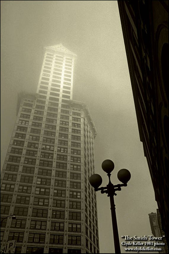 THE SMITH TOWER, Seattle Washington, fog, Clyde Keller photo