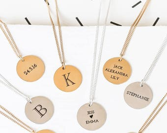 Long Custom Engraved Disc Necklace, Long Monogram Necklace, Personalized Disc Necklace, Long Name Necklace, Initial Necklace, Gold Monogram