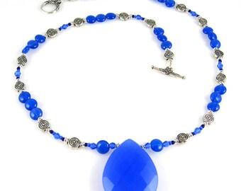 Blue Quartz and Onyx Necklace