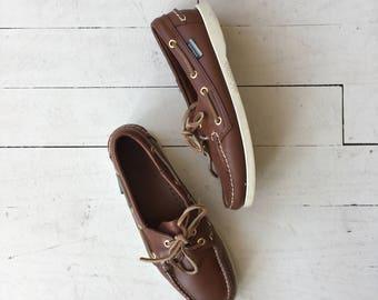 Sebago Docksiders | vintage leather deck shoes | classic docksider shoes 7.5