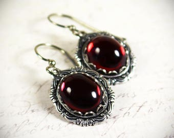 Red Victorian Earrings, Ruby Renaissance Jewelry, Medieval Jewelry, Ren Faire Wedding, Bridesmaid Earrings, Bridal, Garb, Angelica
