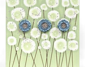Blue and Green Canvas Art Decor with 3D Sculpted Flowers - Small 10x10