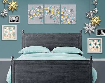 Wall Art Canvas Gray and Yellow Painting of Flowers - Three Piece Artwork Original in Gray Yellow Aqua  - Large 50x20