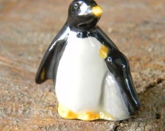 penguin and baby chick  terrarium ceramic miniature