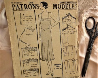 "Original Vintage Sewing Pattern French Les Patrons Modeles No 100842 1930s Women's Slip Petticoat Underwear Lingerie M Medium 36"" - 37"" Bust"