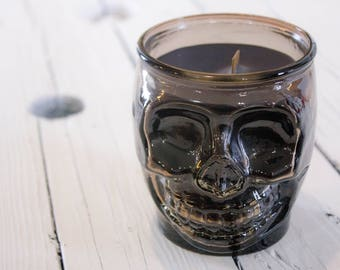 Black Skull Candle, Poison apple scented soy blend candle
