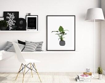 minimal tropical plant illustration art print. Fine art print. modern abstract illustration. leafy green botanical plant in a concrete vase