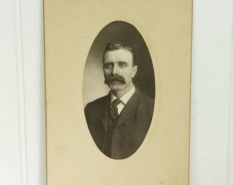 Mustached Man in Suit, Early 1900s Gentleman Oval Portrait on Cabinet Card Style Frame