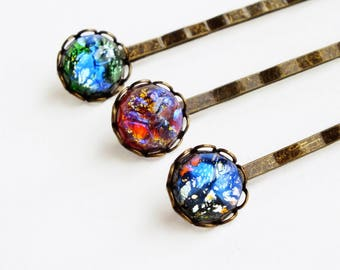 Fire Opal Hair Pin Set Vintage Iridescent Rainbow Glass Bobby Pins Dragons Breath Hairpins Mexican Opal Accessories