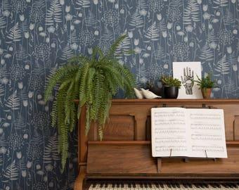 Charlotte's Garden wallpaper in 'inkwell'