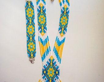 Ukrainian Ethnic jewelry Ukrainian Gerdan and bracelet set, Ukraine necklace, Long Beaded Necklace Ukrainian Jewelry Folk Ukrainian gerdan