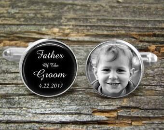Father Of The Groom Photo of Son As A Boy- Silver or Gold-Cufflinks-Wedding- Cufflink Box-Jewelry Box-Keepsake-Gift-Man-Father